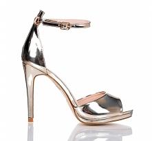 Złote wieczorowe sandały  Srebrne sandały na obcasie na zgrabnej szpilce,idea...