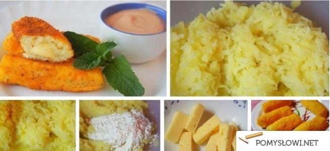 paluszki ziemniaczane z serem ziemniaki 1 kg  mąka ziemniaczana 3 łyżki  mąka pszenna 3 łyżki  sól 1 jajko  Ziemniaki obrać i ugotować, następnie przepuścić przez praskę, wymieszać z jajkiem i mąkami. Wyrobić na gładkie ciasto i formować małe kluseczki w kształcie paluszków, wkładając do środka ser, gotować około 10 minut w osolonym wrzątku.