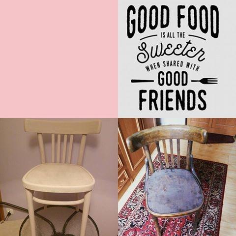 Co powstanie z tych dwóch krzeseł, szablonu i farb kredowych? Sliczne dwa krzesła które dodadzą charakteru każdej kuchni!! Efekty już niedługo: )