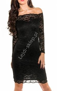 Koronkowa sukienka z dekoltem Carmen, czarna 351 -1