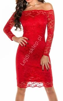 Koronkowa sukienka z dekoltem Carmen, czerwona 351 -1