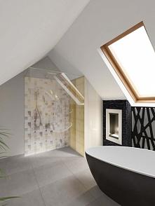 Jeszcze jedno ujęcie luksusowej łazienki z domu k/Bydgoszczy. Bardzo elegancko prezentuje się stylowa wanna oraz przestronny prysznic. Z prawej znajduje się biokominek.