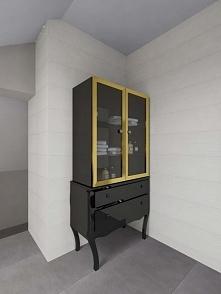 Stylowa, lakierowana czarna komoda ze złotymi obwódkami. Przykład na ciekawe meble designerskie do luksusowego wnętrza. Mebel odnowiony przez studio Bohema Design Bydgoszcz.