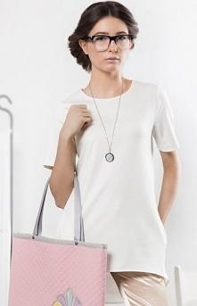 Kasia Miciak design tunika ecru Komfortowa asymetryczna tunika, wykonana z mi...