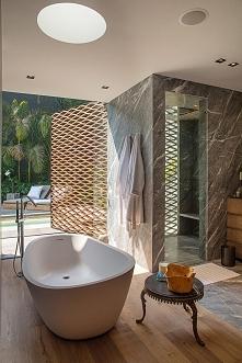 Nowoczesna łazienka w luksusowej rezydencji Barrancas House w Meksyku - zapra...