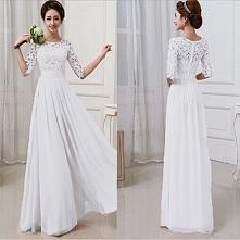 Zwiewna biała długa suknia. Odpowiednia na bal, wesele, a może na swój własny ślub? Kliknij w zdjęcie i zobacz !