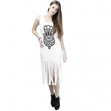 Sukienka Frędzle Hamsa Biała
