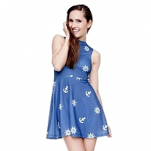 Sukienka Rozkloszowana Marine Niebieska