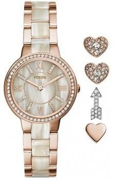 kolejny niepowtarzalny komplet od marki Fossil, zegarek i kolczyki