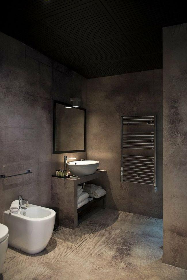 Szara łazienka łazienka Z Betonem Architektonicznym Nie
