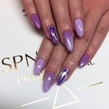 Szklane paznokcie + efekt syrenki + lakiery hybrydowe w odcieniach fioletów &...