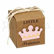 Pudełko ECO RÓŻOWA KORONA z kokardą. Idealne na chrzest, roczek, baby shower,...