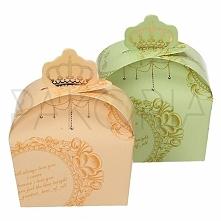 Pudełko ROYAL PISTACJOWE BRZOSKWINIOWE z koroną. Podziękowania dla gości, pudełeczko na cukierki. Na wesele ślub czy inną okazję, składane. Złote motywy, korona. Inspiracje na w...