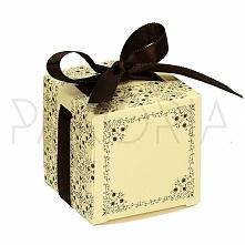 Pudełko ECRU ORNAMENTY z kokardą. Podziękowania dla gości, pudełeczko na cuki...