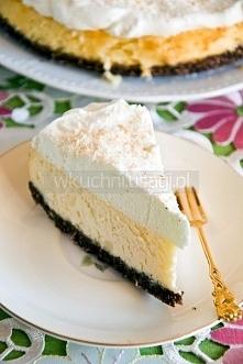 Aksamitny sernik kokosowy z mascarpone Składniki na ciasto (tortownica o śred...