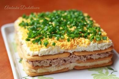 sałatka z tuńczykiem na krakersach  Składniki: - 18 sztuk krakersów - 1 puszka tuńczyka w sosie własnym - 3 ugotowane na twardo jajka - 50 g żółtego sera - 5-6 łyżek majonezu - sól i pieprz - szczypiorek do posypania     Ser zetrzeć na tarce o drobnych oczkach, dodać 3 łyżki majonezu, wymieszać.  Jajka obrać ze skorupek. Białka zetrzeć na tarce o drobnych oczkach. Dodać 2 łyżki majonezu, posolić i wymieszać.  Żółtka także zetrzeć na tarce o drobnych oczkach, odłożyć do posypania na wierzch.  Tuńczyka odcedzić, rozdrobnić widelcem, dodać trochę majonezu, posypać pieprzem i wymieszać. Szczypiorek drobno pokroić.  Na dużym talerzu lub tacce ułożyć obok siebie w kształt kwadratu 6 krakersów. Na to wyłożyć masę serową, wyrównać. Przykryć następną warstwą krakersów, wyłożyć masę rybną. Przykryć jeszcze jedną warstwą krakersów, wyłożyć warstwę pasty z białek, wyrównać. Przykryć warstwą z rozkruszonych żółtek. Wierzch posypać posiekanym szczypiorkiem.   Wstawić na co najmniej 1 godzinę, a najlepiej na noc do lodówki.  Uwagi: Tuńczyka można doprawić według własnego smaku, np. dodając trochę keczupu, musztardy, czy mielonej papryki. Soli należy używać z umiarem, ponieważ krakersy są słone i całość może wypaść zbyt słona.