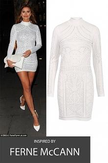 Biała dopasowana sukienka, wysoki karczek