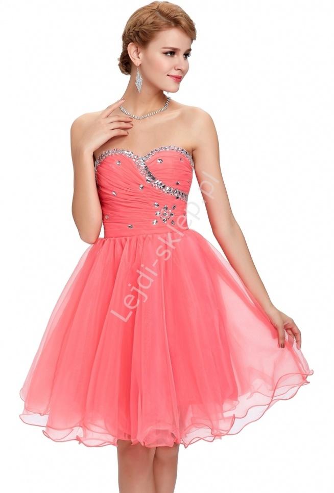 Tiulowa sukienka z kryształkami na studniówkę / karnawał - koralowa