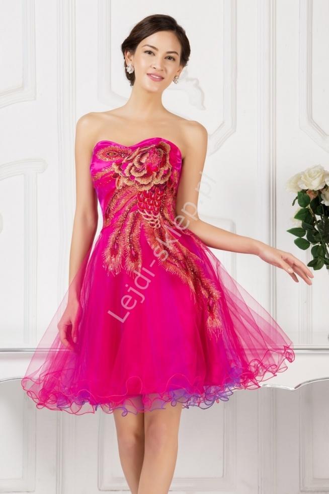 Sukienka na wesele, komunie z kwiatowym haftem   sukienki tiulowe