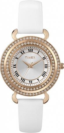 komunijny zegarek dla dziewczynki. Biały pasek i koperta w kolorze złota, ozdobiona kryształkami Svarovskiego