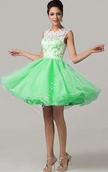 Sukienka na wesele / studniówkę z koronką - pistacja