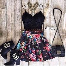 black top & floral skirt