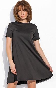 Numinou NU12 sukienka czarna Urocza sukienka, luźny trapezowy fason, zapinana z tyłu na kryty zamek