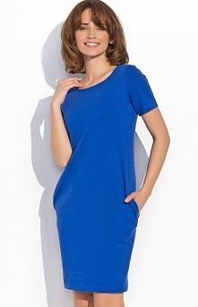 Numinou NU15 sukienka chabrowa Pełna wdzięku sukienka, fason typu bombka, po bokach kieszenie
