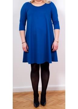 Rozkloszowana sukienka Fason kryjący niedoskonałości figury Kieszenie w szwach Piękny, twarzowy odcień kobaltu