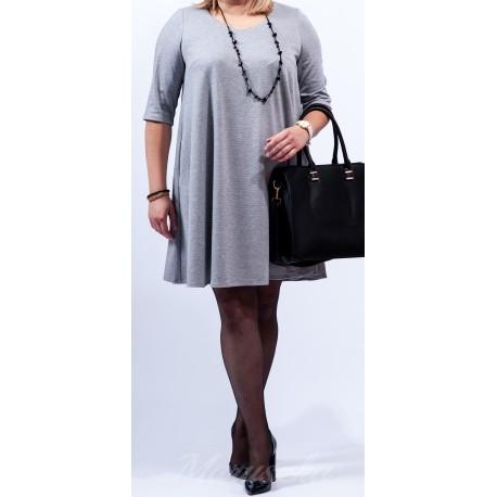 Rozkloszowana sukienka Plus Size Fason kryjący niedoskonałości figury Kieszenie w szwach