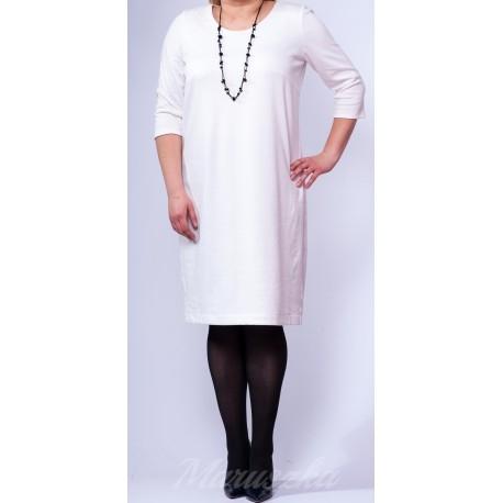 WIOSNA-LATO 2016+ TOTAL WHITE  Prosta sukienka plus size - fason dopasowany do figury  Elegancka sukienka w kolorze jasnego ecru  Okragly dekolt  Sukienka jest na podszewce