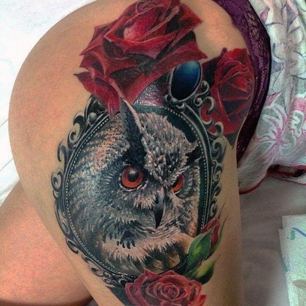Tatuaże Damskie Sowa Na Udzie Na Tatuaże Zszywkapl