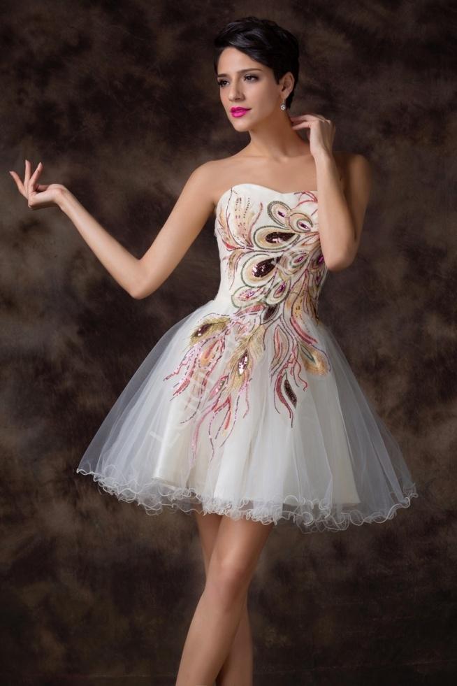 Sukienka z pawimi piórami | sukienki tiulowe