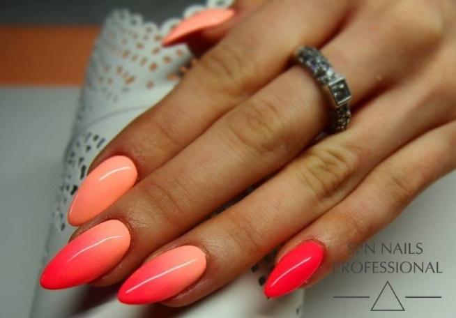 Hit tego sezonu! Ombre w soczystych kolorach!!! LAkiery hybrydowe SPN Nails: 707 i 709 Paznokcie: Monika Sokołowska, Studio Magnetic Nails, SPN Nails Team