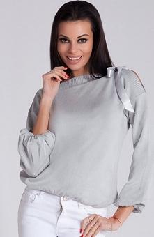 Fobya F253 sweter szary Uroczy sweterek, wykonany z miękkiej sweterkowej dzianiny, bufiaste rękawy