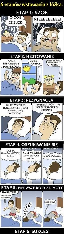 6 etapów wstawania z łóżka