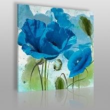 Kwiecisty błękit paryski - nowoczesny obraz na płótnie