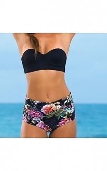 Bikini z wysokim stanem czarny stanik dół w kwiaty link do sklepu klik w zdjęcie