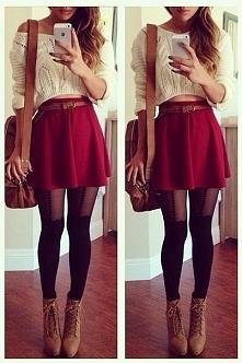 Cudowny outfit :) Pięknie dobrane kolory, dziewczęca spódnicka i sweterek łód...