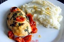 Dietetyczna pieczona pierś z kurczaka z purée kalafiorowym