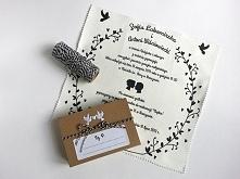 """Materiałowe zaproszenia """"Love"""" + pudełeczko"""