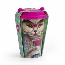 Kubek ceramiczny z silikonową przykrywką. Elegancka kotka.  gadżety do domu u...