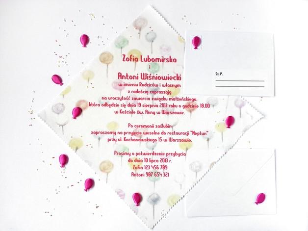 """Materiałowe zaproszenia ślubne """"Balony"""" + koperta"""