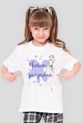 Koszulka dziewczęca z napisem Jestem porządna