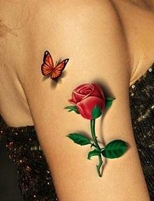 motylek i róża w 3d