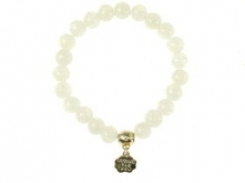 Bransoletka z białymi jadeitowymi koralikami szklanymi ze złotą zawieszką :):*