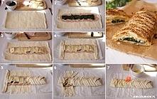 ciasto francuskie z szynką, szpinakiem serem