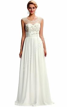 Długa biała sukienka ślubna...