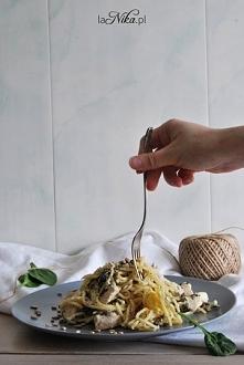 Makaron + szpinak +kurczak. Przepis po kliknięciu w zdjęcie