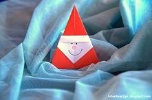 Święty Mikołaj wykonany techniką origami